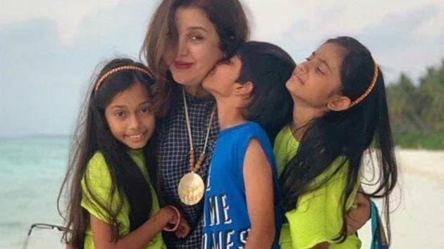 Farah Khan with her triplets Anya, Czar and Diva.