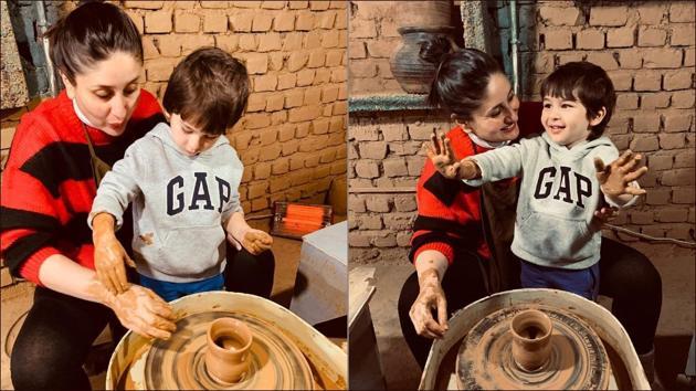 Kareena-Taimur bonding over pottery making is cutest thing on the Internet(Instagram/kareenakapoorkhan)