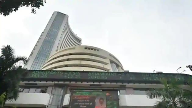A screen on the facade of BSE building displays stock prices.(PTI)