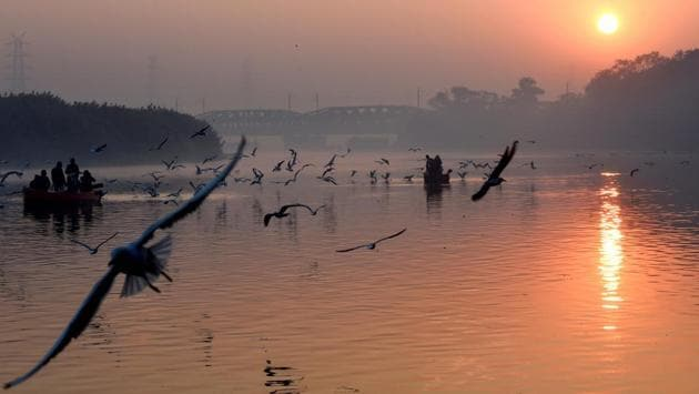 "A view of the Yamuna river in New Delhi on November 22. ""The cold winds blowing from snow-clad western Himalayas have led to a dip in the mercury. However, a fresh Western Disturbance affecting the Western Himalayan region from Monday will have its impact on Delhi as well and the minimum temperature will rise by 2-3 degrees over the next couple of days,"" Srivastava told HT. (Atul Yadav / PTI)"
