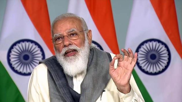 Prime minister Narendra Modi addresses during a meeting with chief ministers of states over the Covid-19 situation, through video conferencing in New Delhi on Tuesday.(ANI)