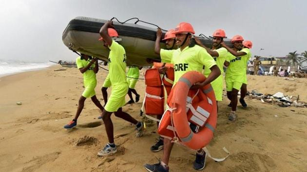 Members of the National Disaster Response Force (NDRF) conduct a mock drill in Chennai in this file photo.(PTI Photo)