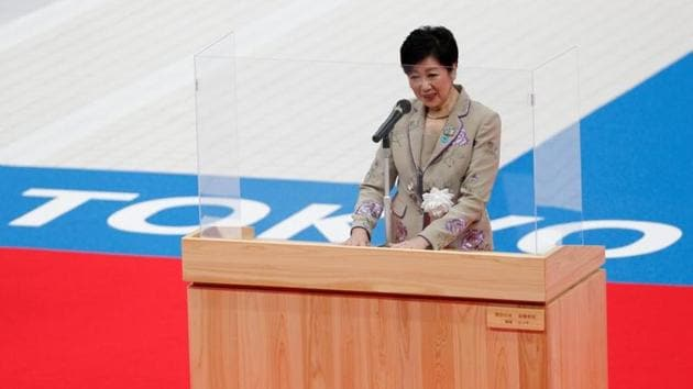 FILE PHOTO: Tokyo's Governor Yuriko Koike delivers a speech during the grand opening ceremony of the Tokyo Aquatics Centre, which will host artistic swimming, diving, and swimming events at the Tokyo Olympic and Paralympic games, amid the coronavirus disease (COVID-19) outbreak, in Tokyo, Japan October 24, 2020. REUTERS/Issei Kato/File photo(REUTERS)