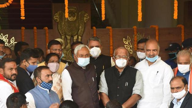 Chief minister Nitish Kumar, who is a member of legislative council, was present during the ceremony.(Santosh Kumar/HT Photo)