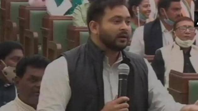 RJD leaders including Tejashwi Yadav opposed the election of Speaker of the Bihar Legislative Assembly.(ANI Photo)