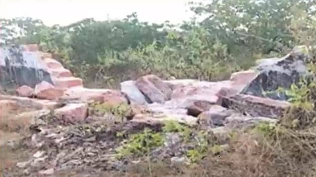 The boundary wall of the hospital in Odisha's Khurda district that was demolished by a herd of elephants.(HT PHOTO)