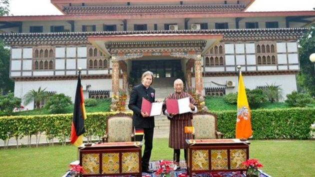 The two sides have had consular relations since 2000, and Germany's envoy to India, Walter Lindner, and Bhutanese ambassador V Namgyel exchanged notes verbale on the establishment of diplomatic relations. (Photo @AmbLindnerIndia)