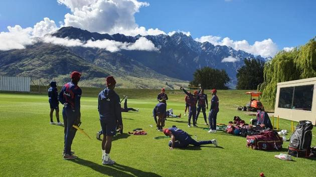 Team West Indies at training session in New Zealand(Twitter)