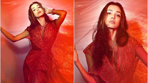 Malaika Arora looking stunning the coral creation by Ziad Nakad(Instagram)