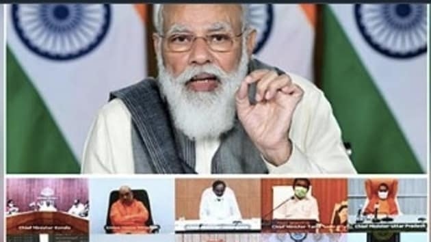 Prime Minister Narendra Modi told state chief ministers in an interaction by video link to be cautious of rumours about the vaccines and said he can't help it if people do politics over it(Twitter)