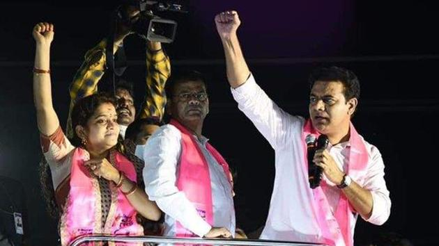 The TRS' KT Rama Rao said the reason why the BJP should not win the GHMC elections was that it would create communal disturbances in the city. (Photo @KTRTRS)
