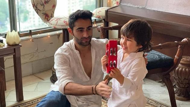 Armaan Jain and nephew Taimur during their playtime.