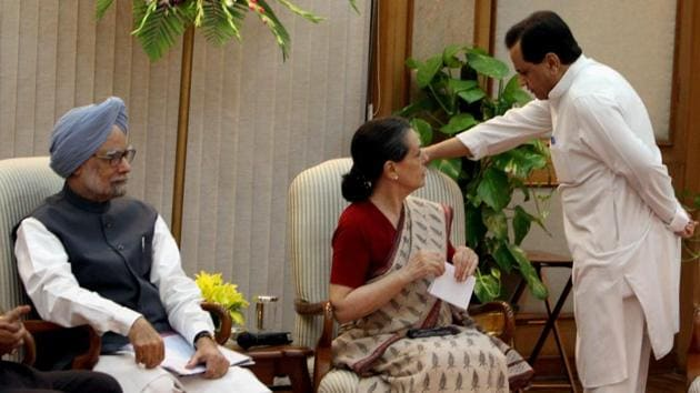 In this file photo dated July 14, 2012, UPA Chairperson Sonia Gandhi talks with Ahmed Patel as Prime Minister Manmohan Singh looks on during the announcement of the name of Hamid Ansari as UPA's candidate for Vice President during a meeting in New Delhi.(PTI)
