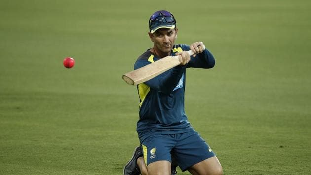 Justin Langer, coach of Australia, hits catches during an Australian Training Session ahead of the Australia v Sri Lanka Test Series at The Gabba.(Getty Images)