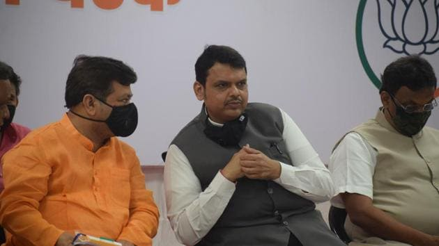 "Maharashtra Leader of Opposition Devendra Fadnavis accused Shiv Sena of labelling those who levelled charges of corruption against it as being ""Maharashtra-drohi"" (anti-Maharashtra).(Hindustan Times)"