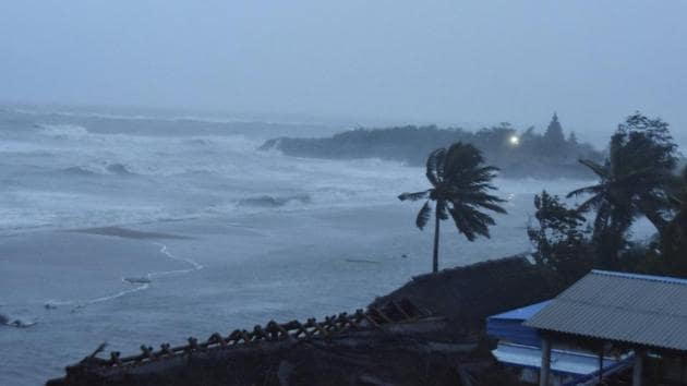 Strong winds at a coastal area before the landfall of Cyclone Nivar, in Mamallapuram on Wednesday.(PTI Photo)
