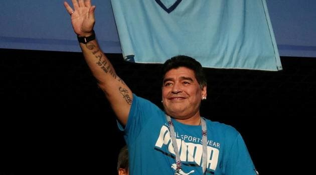 Diego Maradona in the stands before the match.(REUTERS)