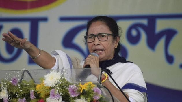 West Bengal chief minister Mamata Banerjee addresses a public meeting in Bankura district on Wednesday.(PTI PHOTO.)