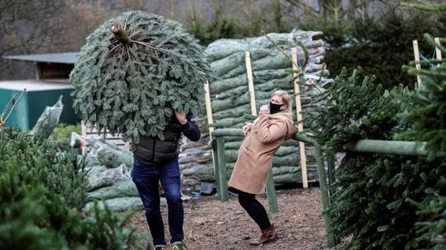 A person carries a tree at a Christmas Tree Farm, amidst the outbreak of the coronavirus disease (Covid-19), in Keele, Staffordshire, Britain November 24, 2020.(REUTERS)