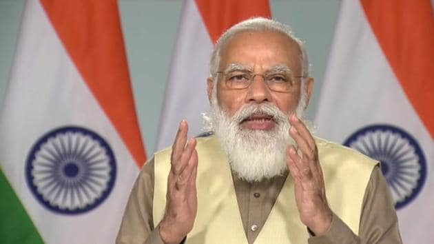 Prime Minister Narendra Modi speaks during the centennial foundation day of the University of Lucknow, via video conferencing, in New Delhi, Wednesday.(PTI)