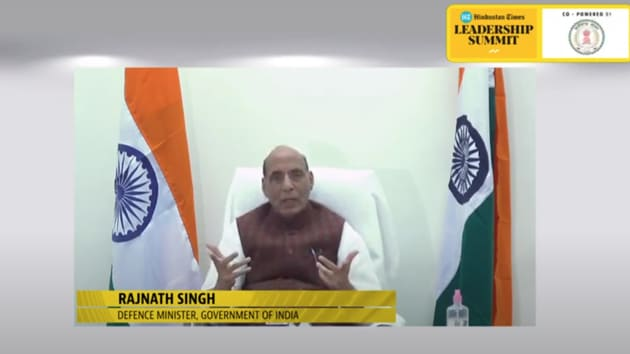 Defence minister Rajnath Singh said India is not a soft target anymore and this has been made possible due to efforts taken by the BJP-led government at the Centre. He was speaking during the 18th edition of the Hindustan Times Leadership Summit.(HT Photo)