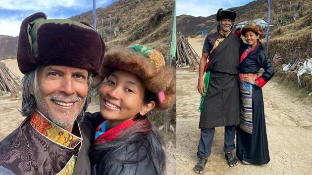 Milind Soman and wife Ankita Konwar during their trek.