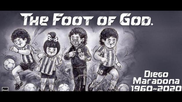 Amul paid tribute to Diego Maradona in theie own creative way.(Twitter/@Amul_Coop)