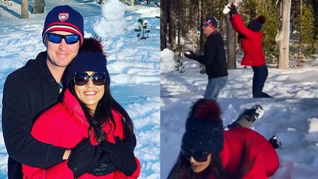 Preity Zinta and Gene Goodenough during their thanksgiving trip.
