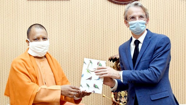 French Ambassador with Uttar Pradesh Chief Minister Adityanath in Lucknow on Wednesday.(https://twitter.com/FranceinIndia)