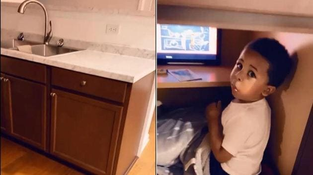 The image shows the kid in his secret chilling place.(Instagram/@noahalexanderw)
