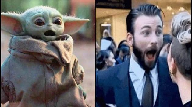 The image shows Baby Yoda and Chris Evans.(Twitter@fallcevans)