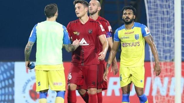 Kerala Blasters and NorthEast FC end in a 2-2 draw(ISL/Twitter)
