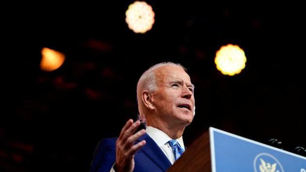 US President-elect Joe Biden delivers a pre-Thanksgiving address at his transition headquarters in Wilmington, Delaware, US.(REUTERS)