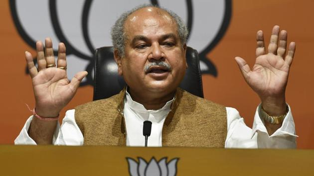 Union Minister for Agriculture and Farmer Welfare Narendra Singh Tomar(Sanjeev Verma/HT photo)