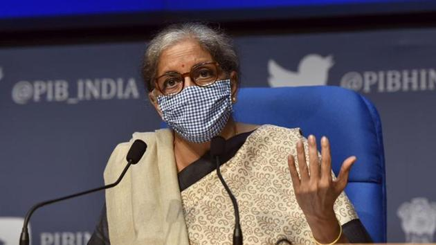 Finance minister Nirmala Sitharaman had already announced about the capital infusion proposal on November 12 while unveiling the third stimulus package, AatmaNirbhar Bharat 3.0, to boost the economy(Sanjeev Verma/HT PHOTO)