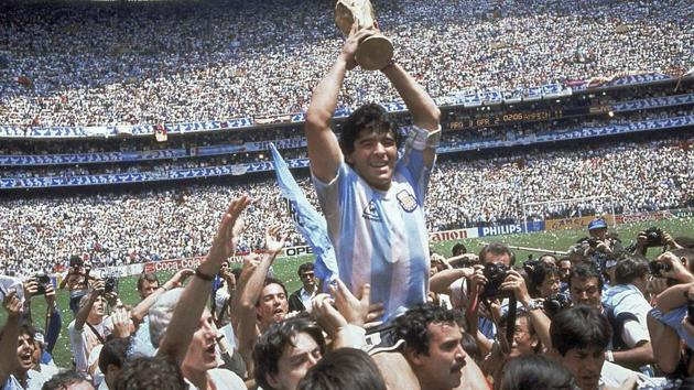 In this June 29, 1986 file photo, Diego Maradona holds up his team's trophy after Argentina's 3-2 victory over West Germany at the World Cup final soccer match at Atzeca Stadium in Mexico City.(AP)