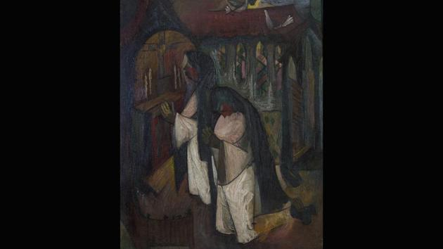 Bhanu Athaiya's autobiographical notes suggest that this painting, of a nun kneeling before an altar (circa 1950) may have drawn on memories from her days as a student at the JJ School of Art in Mumbai, when she lived at a hostel run by a Catholic religious order. This oil-on-canvas, Prayers, she had displayed at an exhibition in 1953, alongside works by members of the Progressive Artists Group. (Courtesy Prinseps.com)
