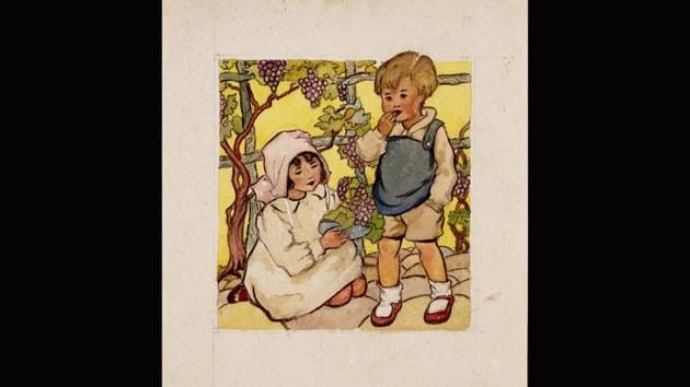 This watercolour, Untitled (Grapes), on paper, was made between 1943- 44 before Bhanu Athaiya joined the JJ School of Art in Bombay (now Mumbai). Athaiya's inspiration began from home. This sketch shows she was already aware of European portraiture-- hardly surprising as her father would being home from his travels in Mumbai, catalogues and books on European painters. (Courtesy Prinseps.com)