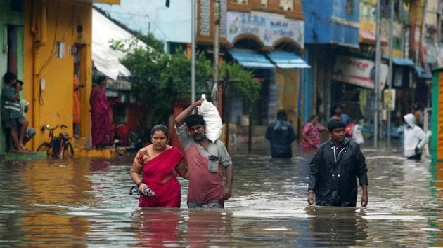Heavy rains lead to waterlogging in the city ahead of the landfall of cyclone Nivar, in Chennai.(ANI)