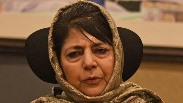 In Srinagar, PDP president Mehbooba Mufti termed the arrest blackmail and said Waheed ur Rehman Parra had been falsely implicated in the case against Singh, who was arrested in January 11(Waseem Andrabi/ Hindustan Times)