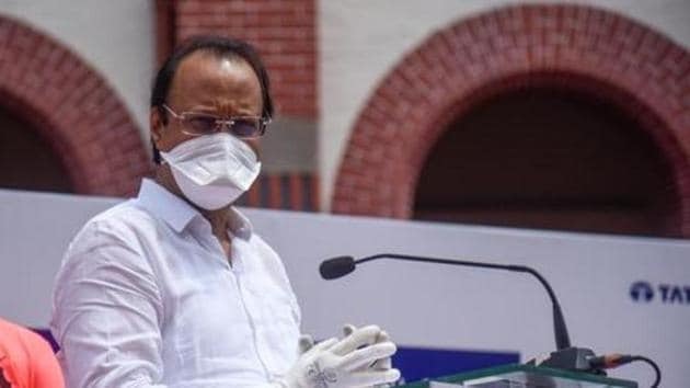 Maharashtra deputy chief minister Ajit Pawar is seen in this file photo in Pune. Pawar on Thursday prayed for early availability of a Covid-19 vaccine and a world free of the disease.(Sanket Wankhade/HT Photo)