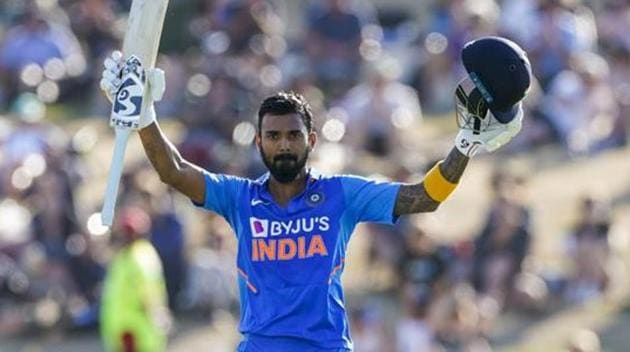 India's KL Rahul celebrates his 100 runs during the One Day cricket international between India and New Zealand at Bay Oval in Tauranga, New Zealand.(AP)