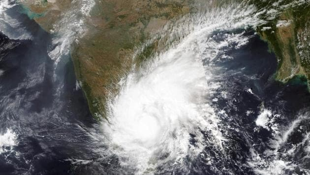 On November 25, a satellite image released by NASA Worldview, Earth Observing System Data and Information System (EOSDIS) showed the severe cyclonic storm Nivar. (NASA via AP)