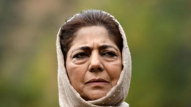 Peoples Democratic Party (PDP) leader Mehbooba Mufti is seen in Srinagar in this file photo. Three more leaders of her party have resigned.(AFP Photo)
