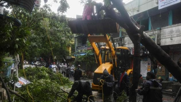 In towns of Andhra Pradesh, heavy gales accompanied by intense rain uprooted trees and electric poles blocking traffic at several places, resulting in disruption of power supply. (Image used for representation).(AFP PHOTO.)