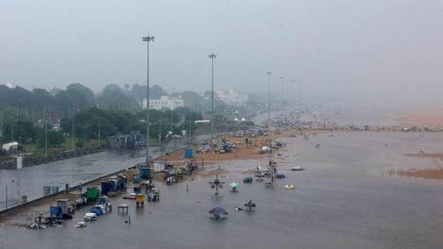 A deserted Marina beach is seen during rains before Cyclone Nivar's landfall, in Chennai on November 25. The weather bulletin mentioned that both Puducherry and Tamil Nadu received heavy rain during the landall, however, Nivar had weakened to a cyclonic storm from a very severe cyclonic storm after entering the land. (P Ravikumar / REUTERS)