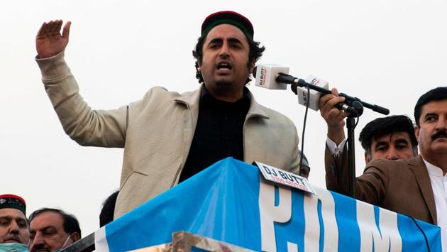 Bilawal Bhutto Zardari, chairman of the Pakistan Peoples Party and son of former prime minister of Pakistan Benazir Bhutto, gestures while addressing supporters during a political rally in Peshawar on November 22.(AFP file)