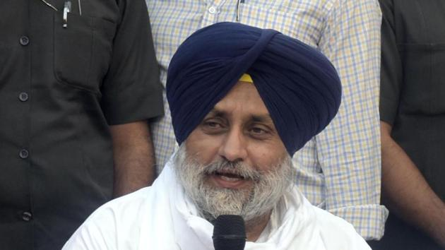 """Badal earlier in a tweet condemned the Haryana government and the Centre for choosing to repress peaceful farmer movement and further said that today is """"Punjab's 26/11"""".(Sameer Sehgal/HT Photo)"""