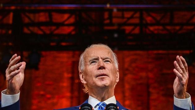 US President-elect Joe Biden delivers a Thanksgiving address at the Queen Theatre in Wilmington, Delaware.(AFP)