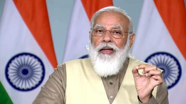 \ Prime Minister Narendra Modi addresses during the Centennial Foundation Day of the University of Lucknow, through video conferencing in New Delhi on Wednesday.(ANI)